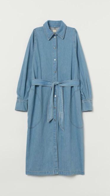 Duga haljina od teksasa ravnog kroja sa kaišem, H&M